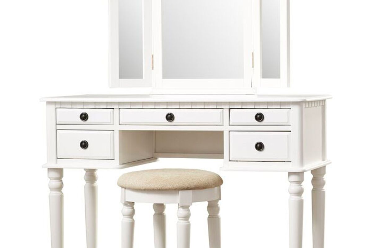 three posts torrance vanity set with stool and mirror