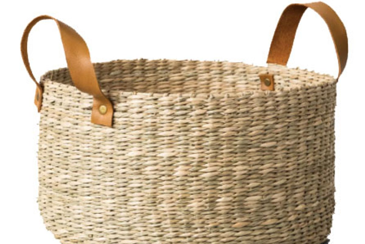 hearth and hand with magnolia seagrass basket with leather handle