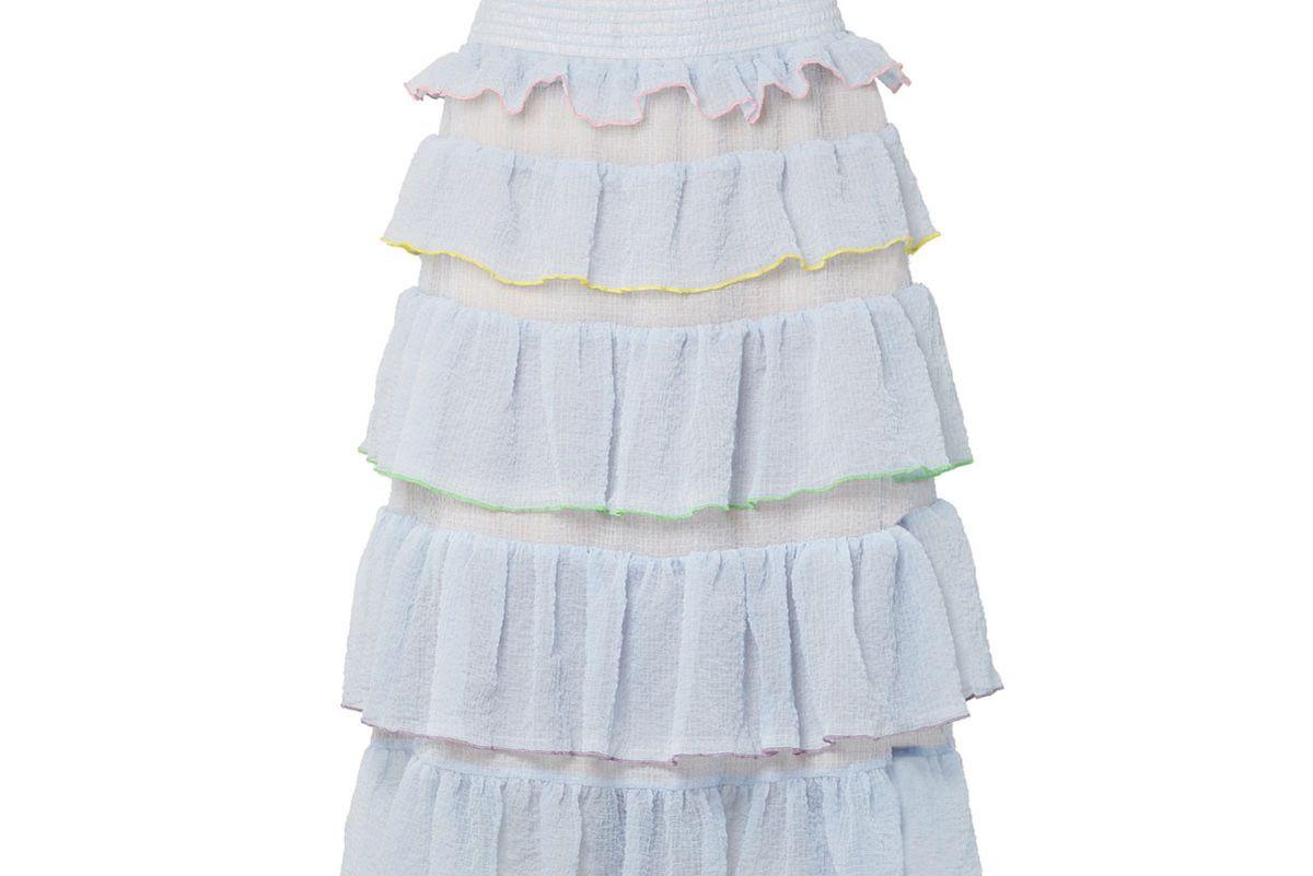 sandy liang choux choux tiered ruffled textured chiffon midi skirt