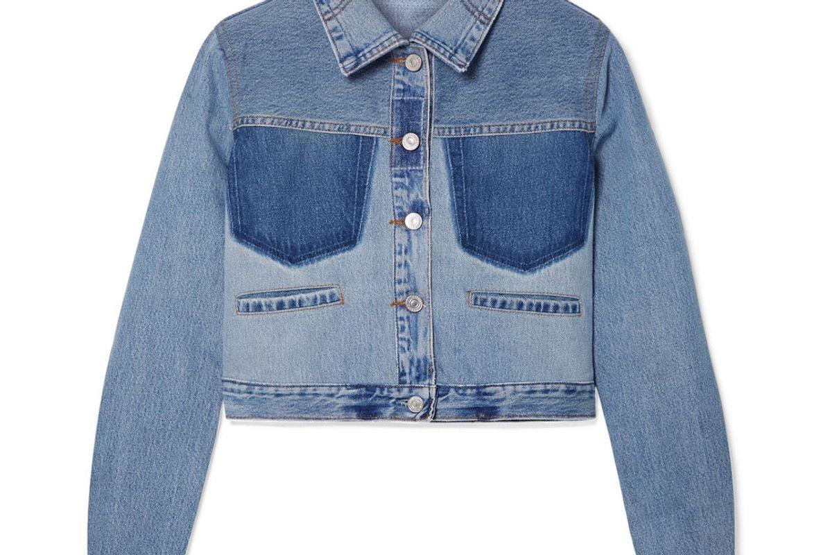 redone levis cropped two tone denim jacket