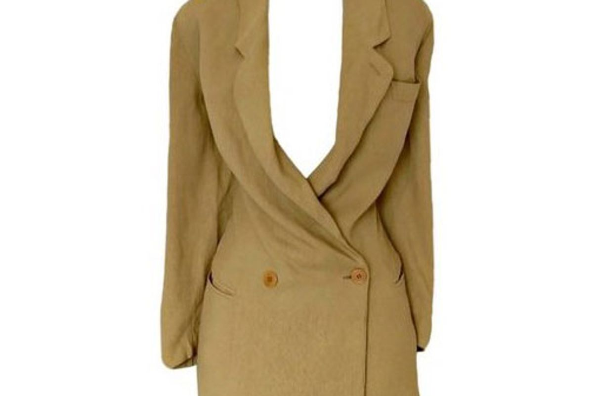 giorgio armani blazer jacket vintage 90s tan coat double breasted