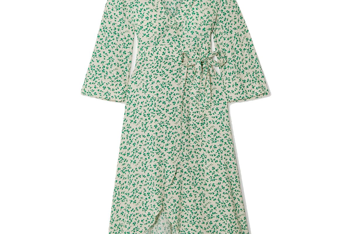 ganni floral print crepe wrap dress