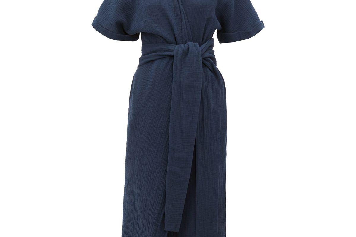 loup charmant kichi belted slubbed cotton wrap dress