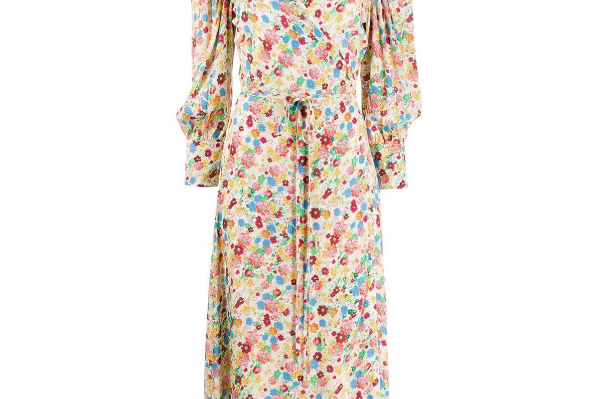 andamane floral midi wrap dress