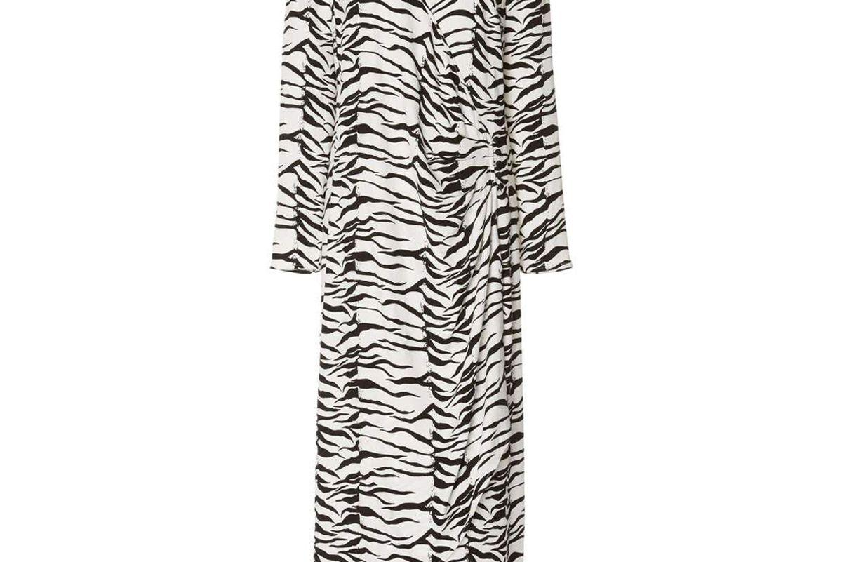 rixo betty mono tiger midi wrap dress