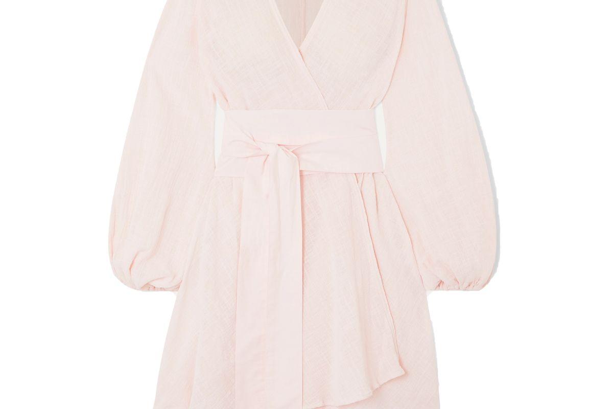 kalita gaia cotton gauze wrap mini dress