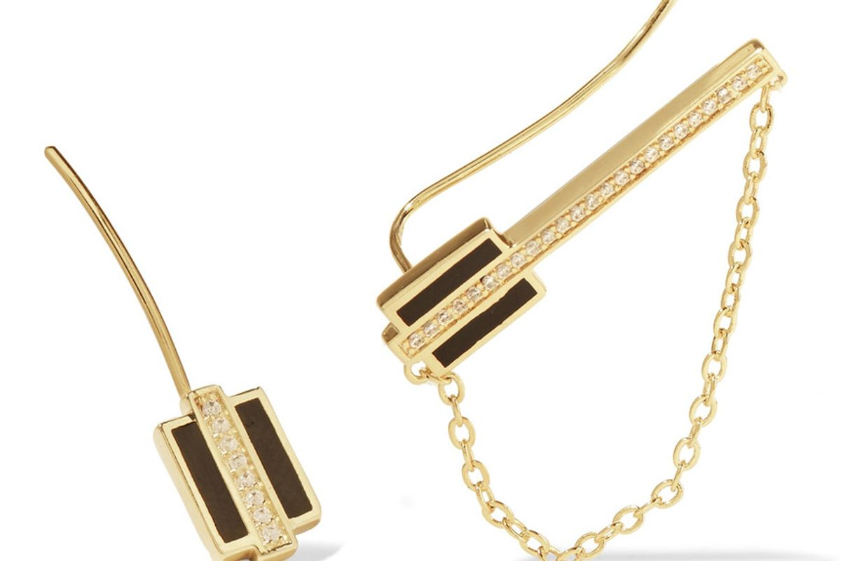 Honey Balm Gold-Tone, Crystal and Enamel Earrings