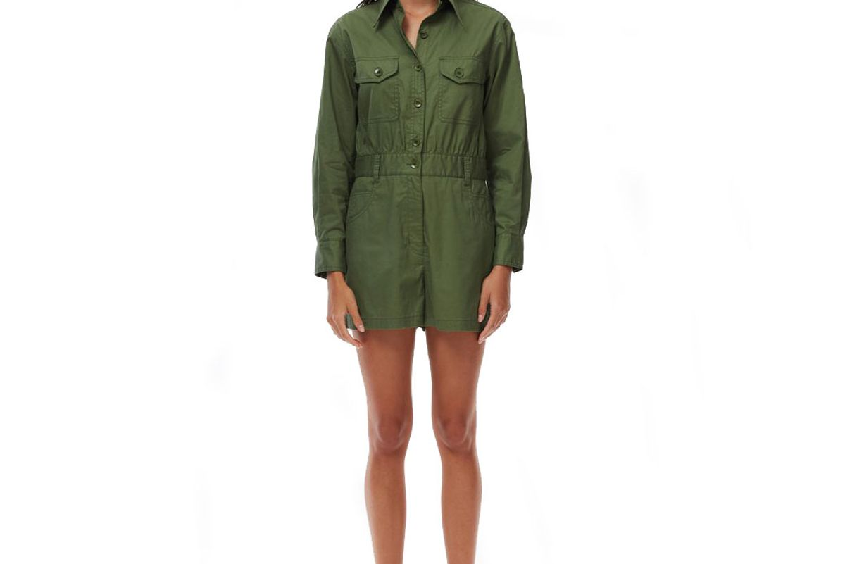 tibi feather weight cotton twill cargo short jumpsuit