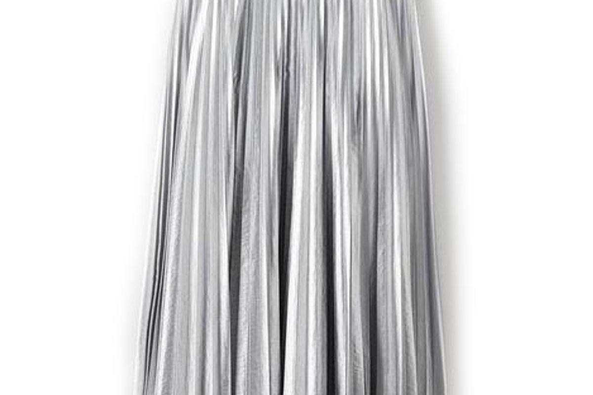 tibi metallic nylon pleated skirt
