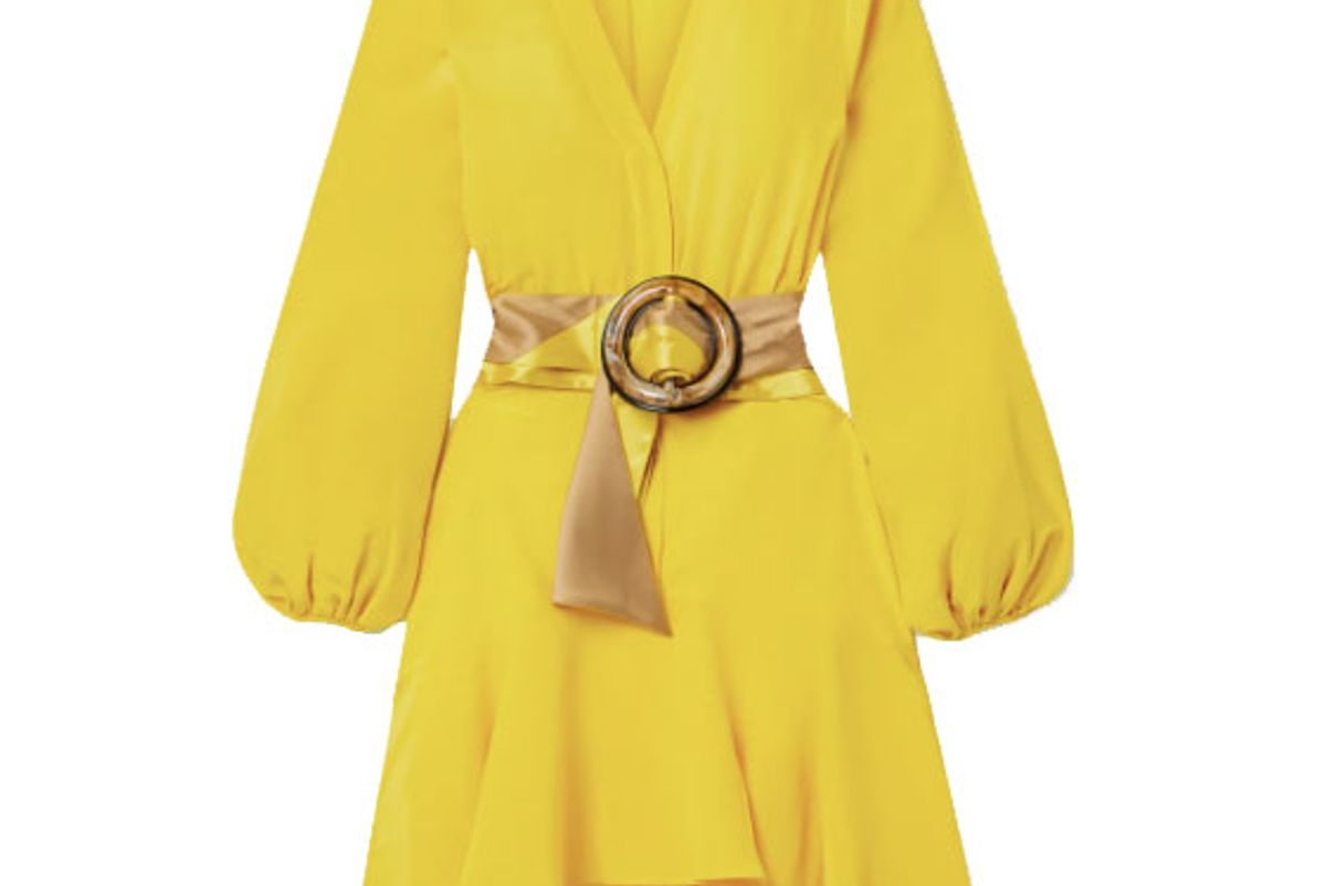silvia tcherassi filis belted silk crepe de chine mini dress