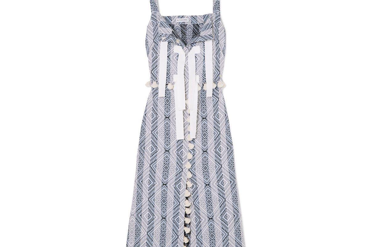 altuzarra villette tasseled cotton blend jacquard midi dress
