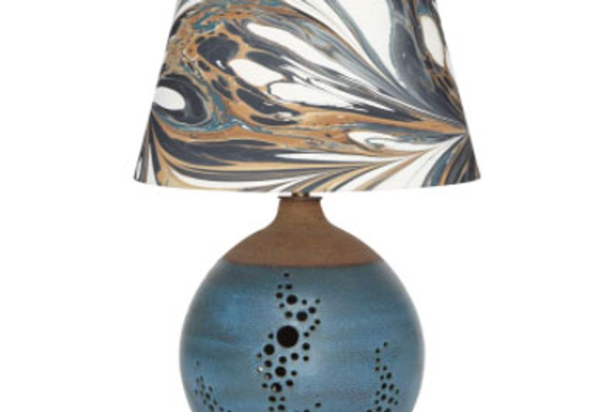 rule of three and heather levine ceramic table lamp with hand marbled shade