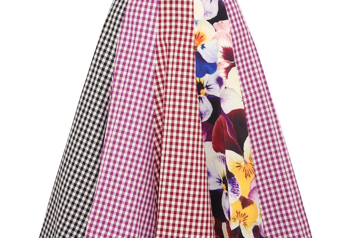 Gingham Cotton-Twill Midi Skirt