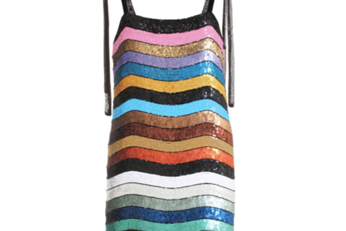 Sabrina Striped Sequinned Dress