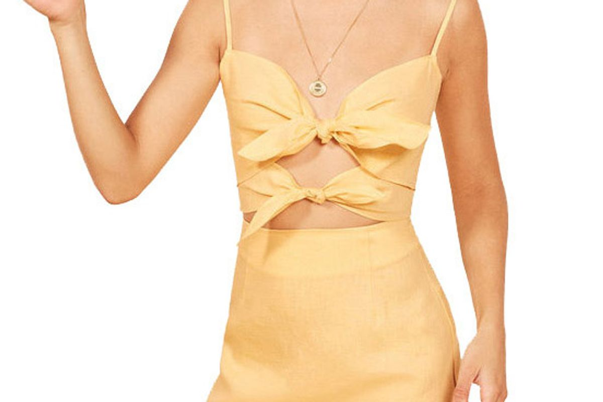 reformation peyton top buttercup