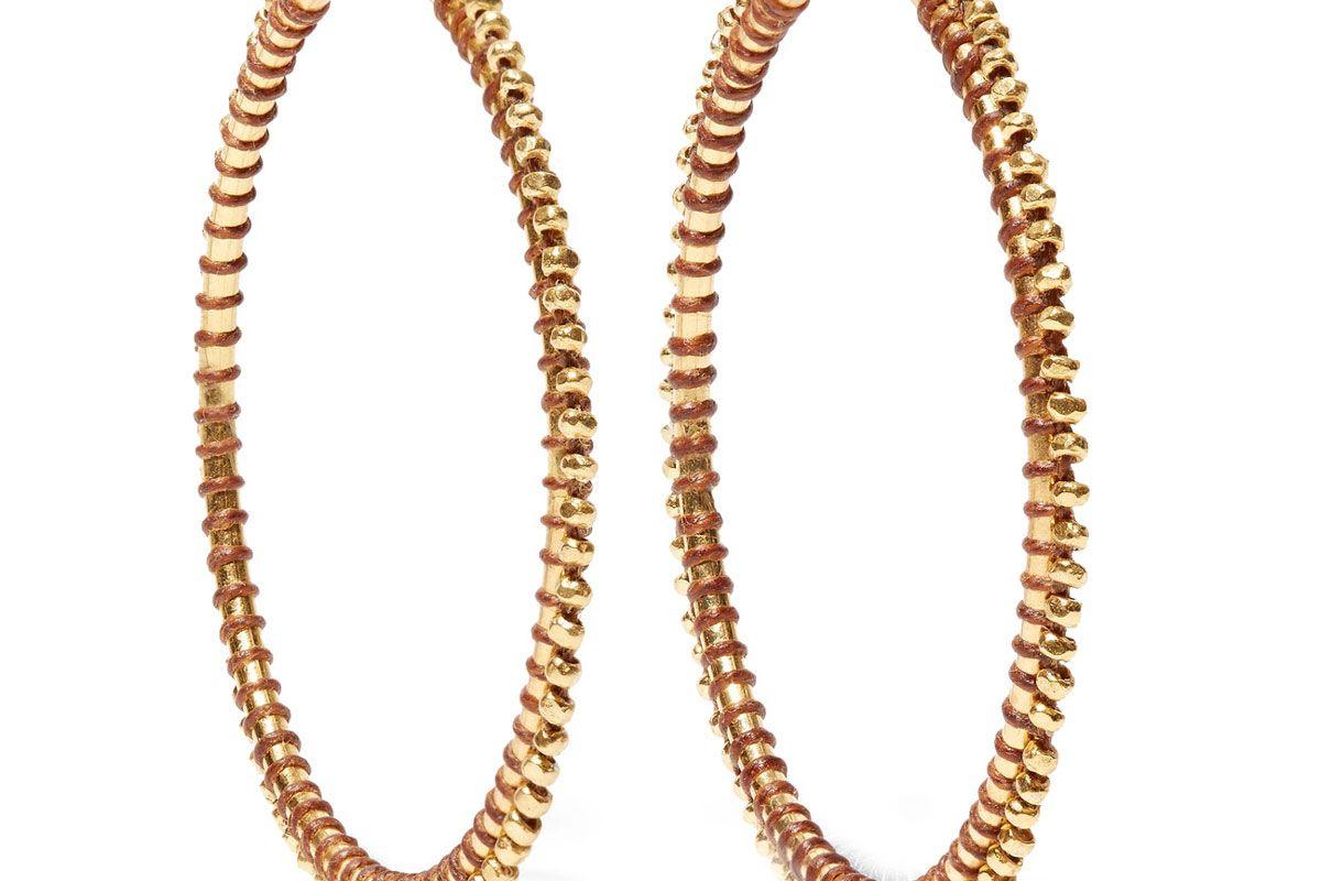 Gold-tone enameled hoop earrings