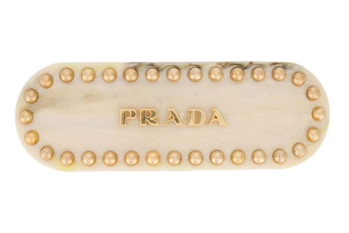 prada logo and studs hair clip