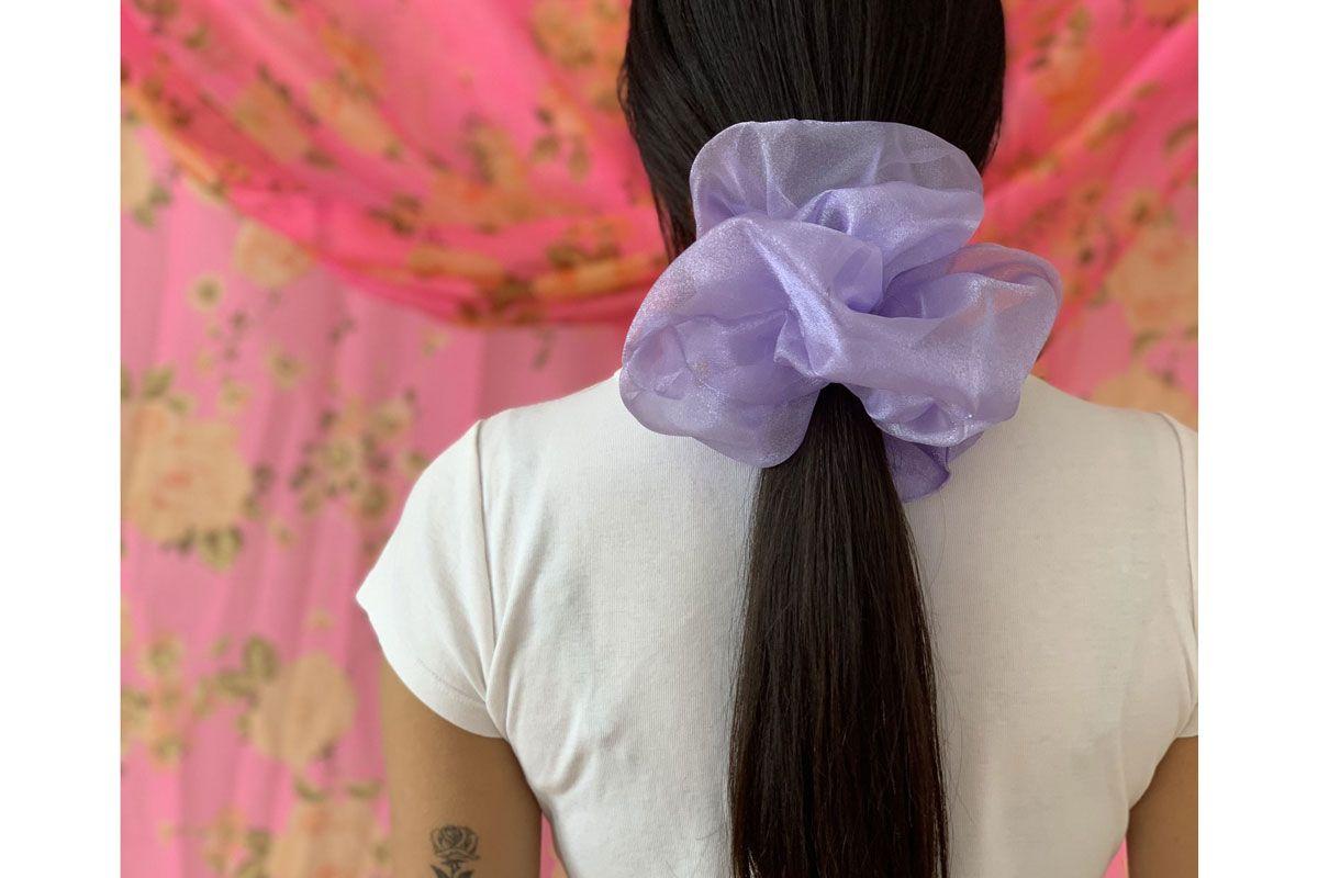room shop vintage cloud scrunchie lilac shimmer