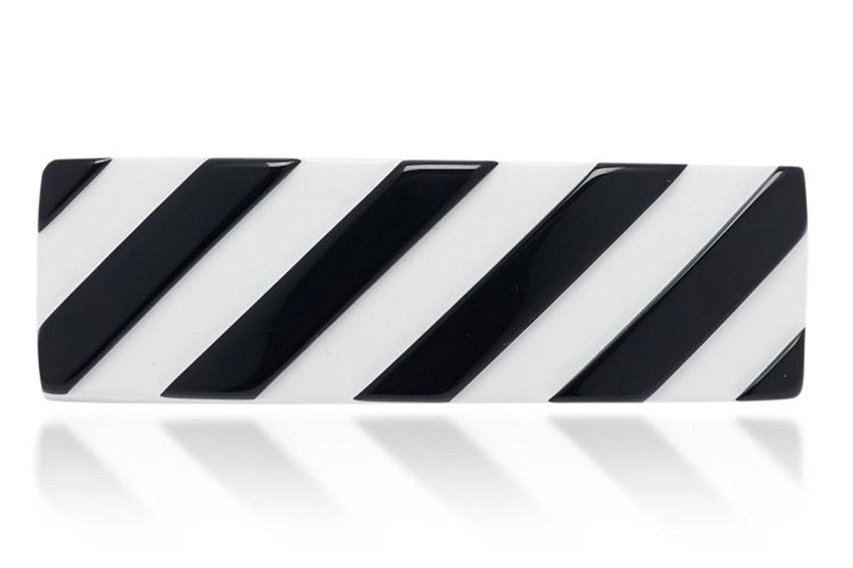off white co virgil abloh logo striped acetate hair clip