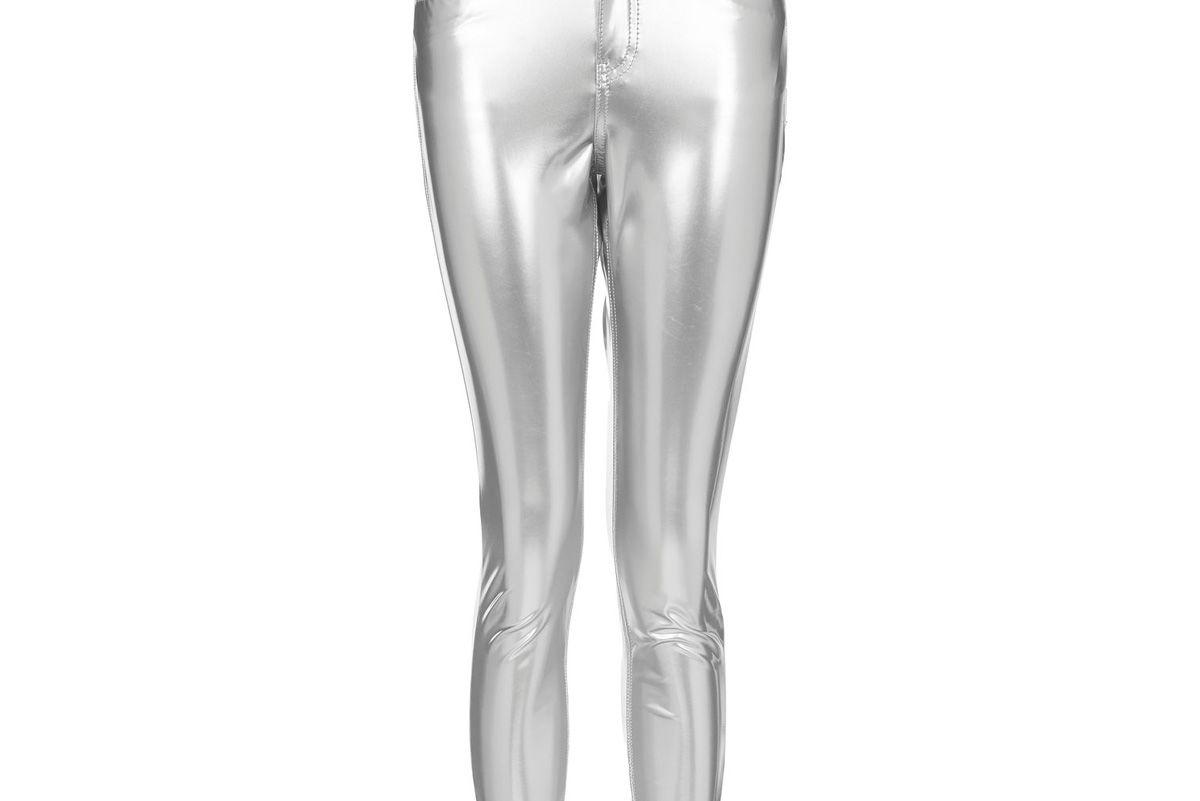 MOTO Silver Vinyl Jamie Jeans