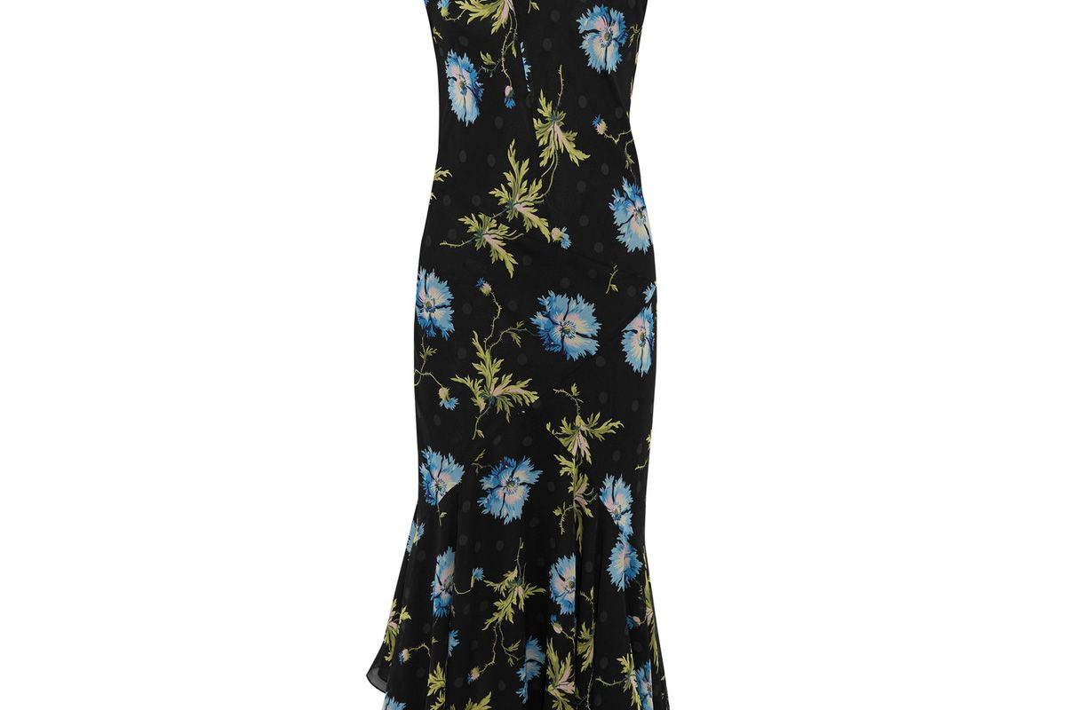 Evelyn Asymmetric Printed Silk-Georgette Midi Dress