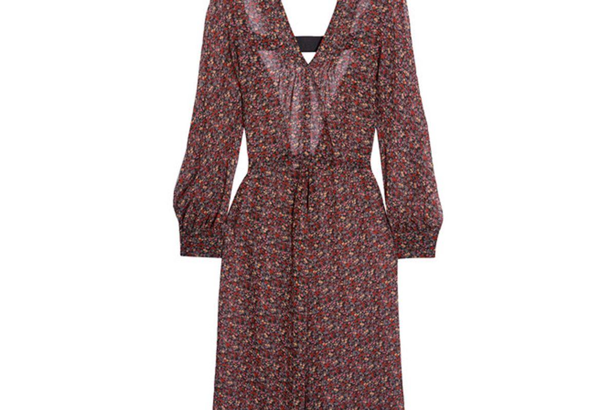 Open-Back Floral-Print Georgette Dress