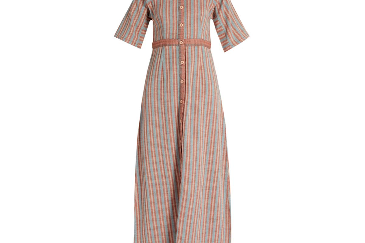 Ballad Stand-Collar Striped-Cotton Dress