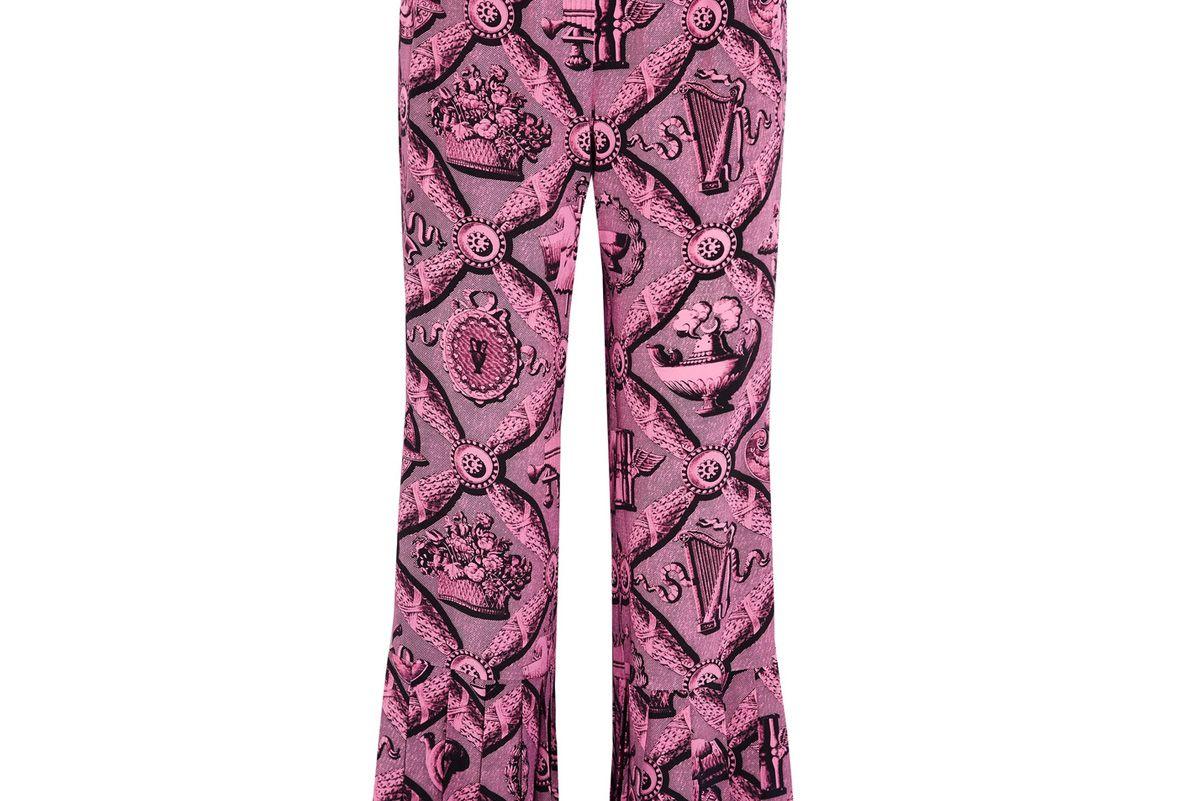 Pleated Printed Silk Crepe de Chine Wide-Leg Pants
