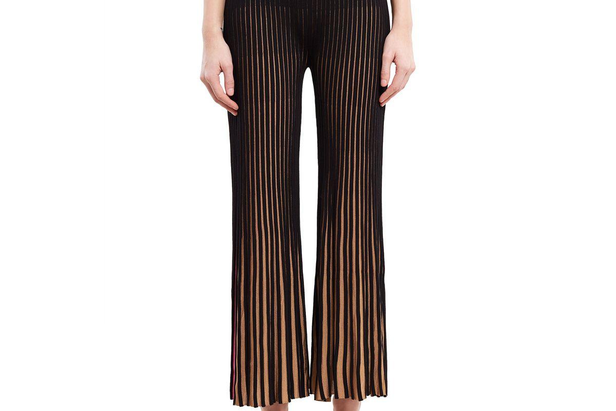 Bi-Color Ribbed Flared Pants