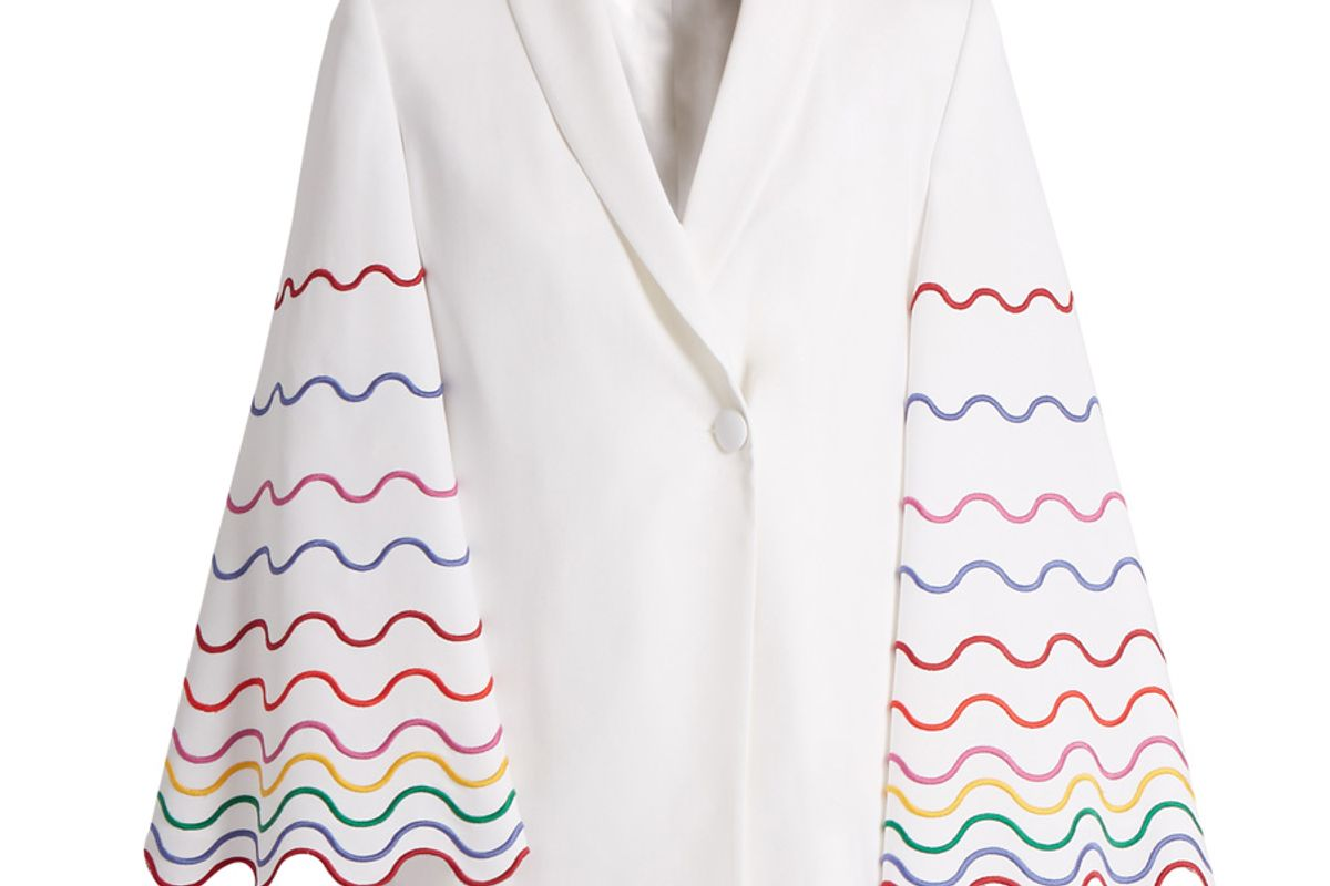 Shawl-Collar Wave-Embroidered Cady Jacket