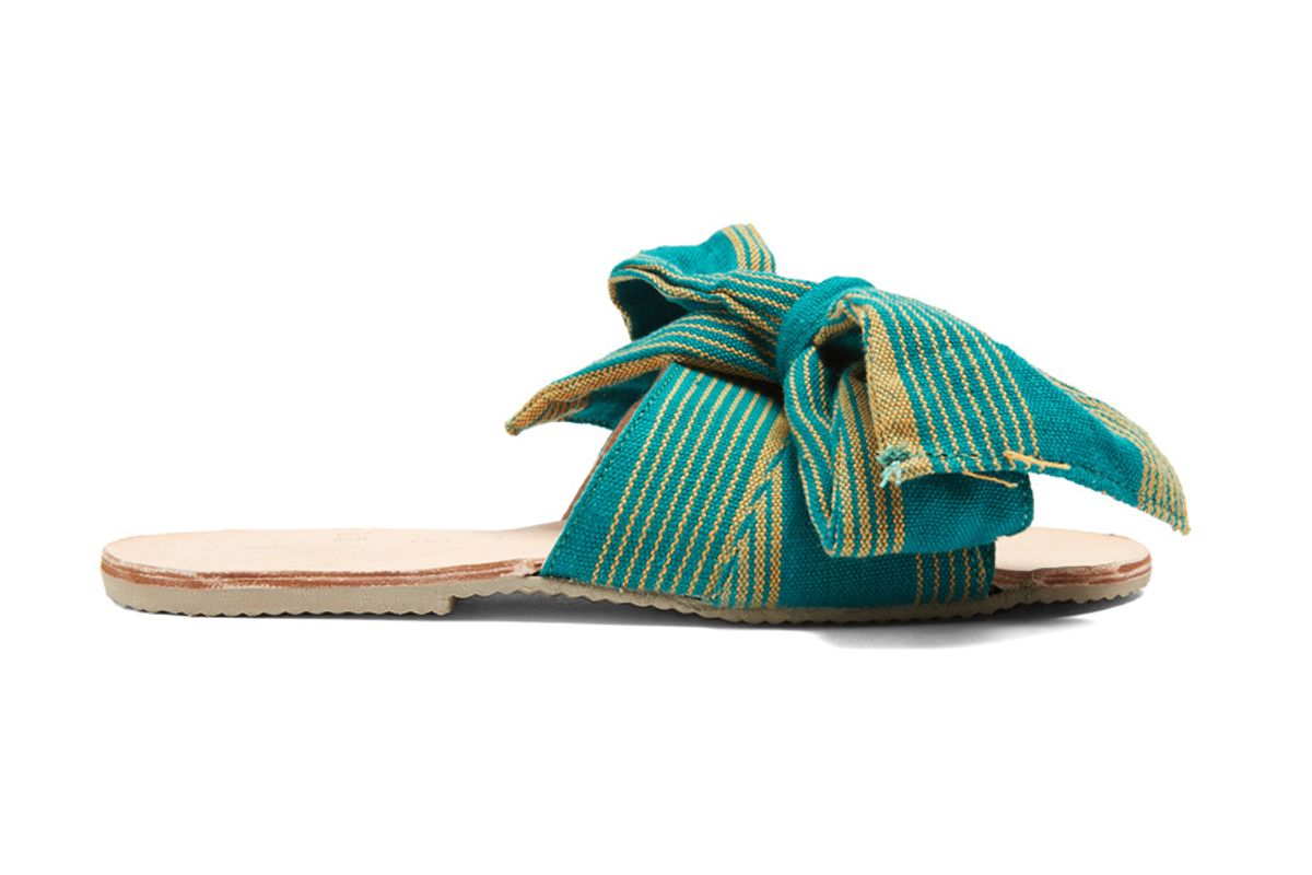 Burkina Striped-Bow Leather Slides