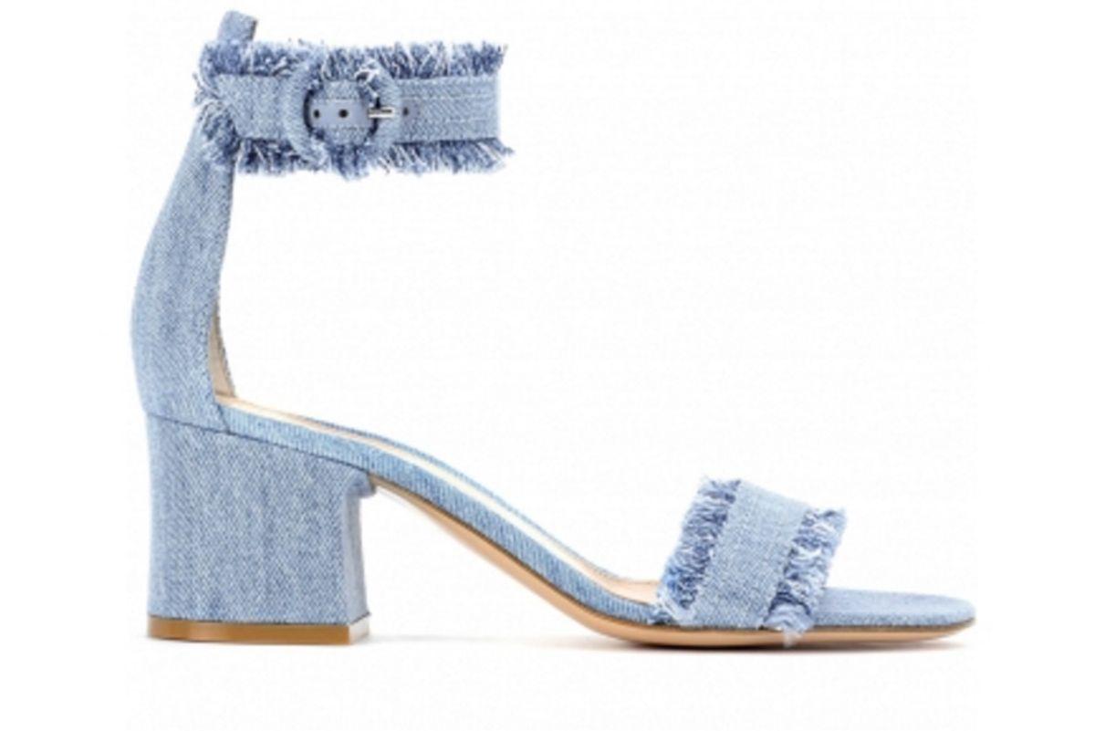 Kiki Denim Ankle-Strap Sandals
