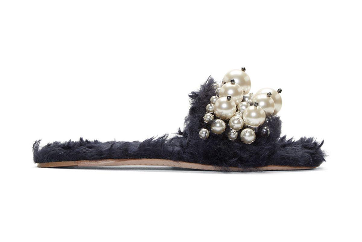 Eco Fur Pearl Slide Sandals