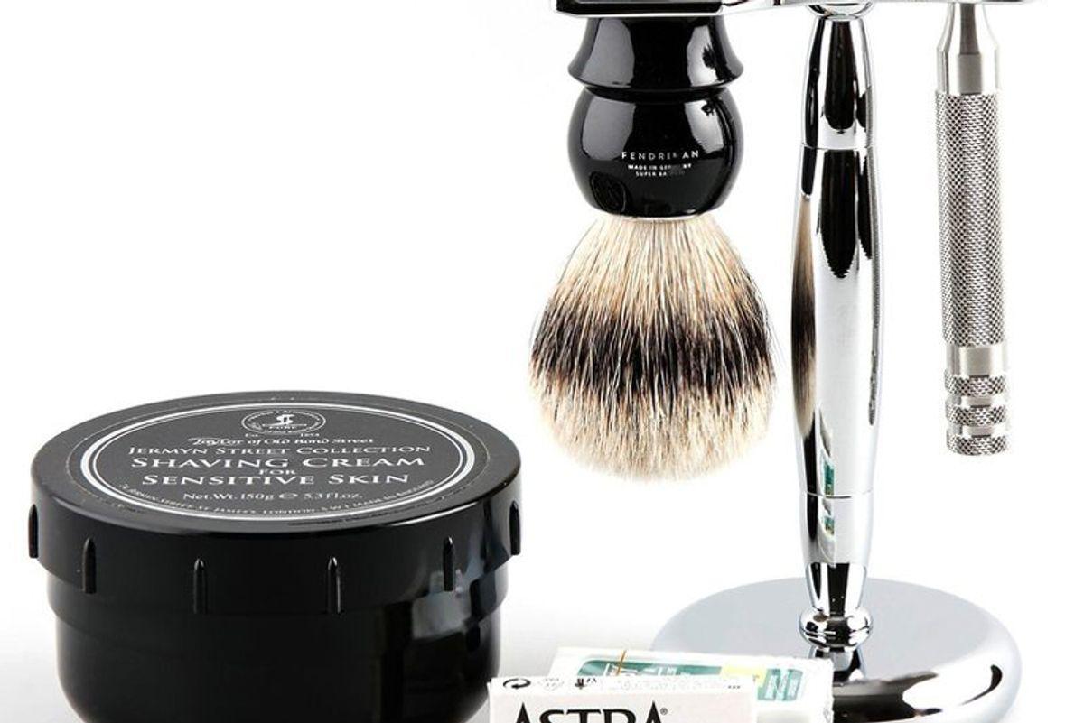 fendrihan 5 piece wet shaving set with fendrihan full stainless steel safety razor