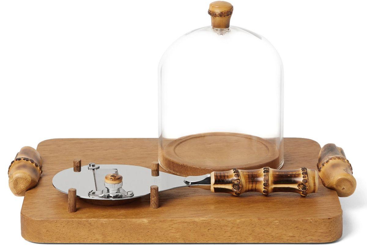 lorenzi milano iroko wood bamboo and stainless steel truffle shaver set
