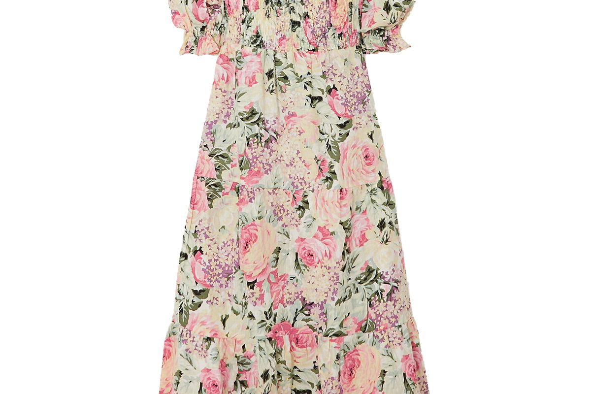 faithfull the brand de christin shirred floral print linen midi dress