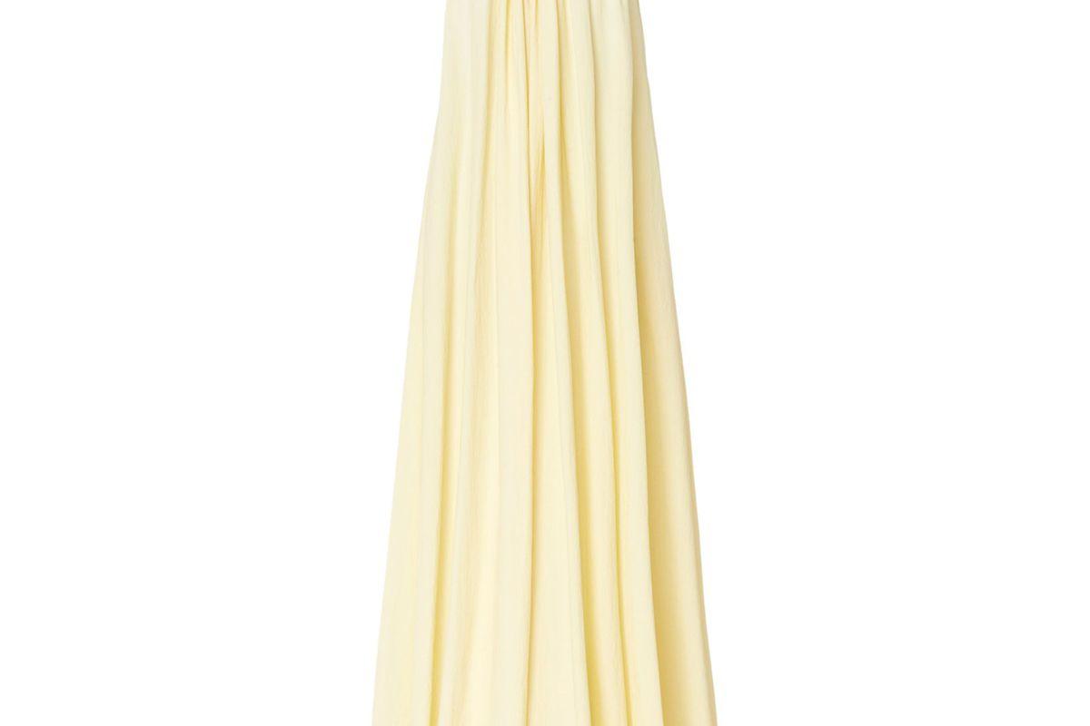 aeron sylvia long gathered neck dress cream