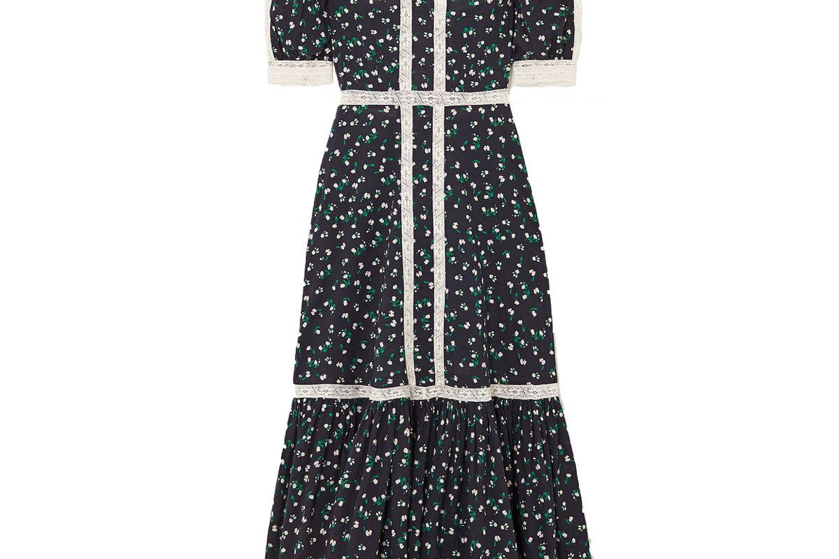 rixo ash crochet trimmed floral print cotton maxi dress