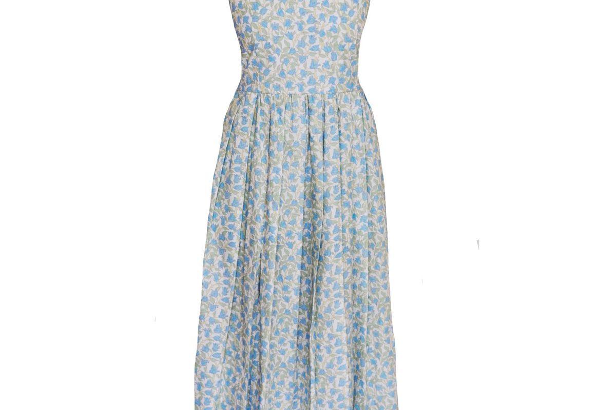 coco shop pleated dress in blue bougainvillea