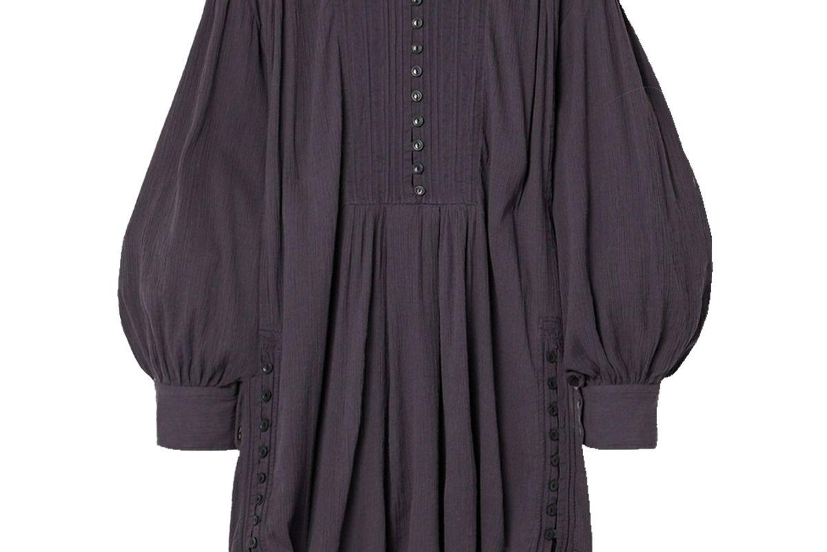 isabel marant yacolt gathered crinkled cotton voile mini dress