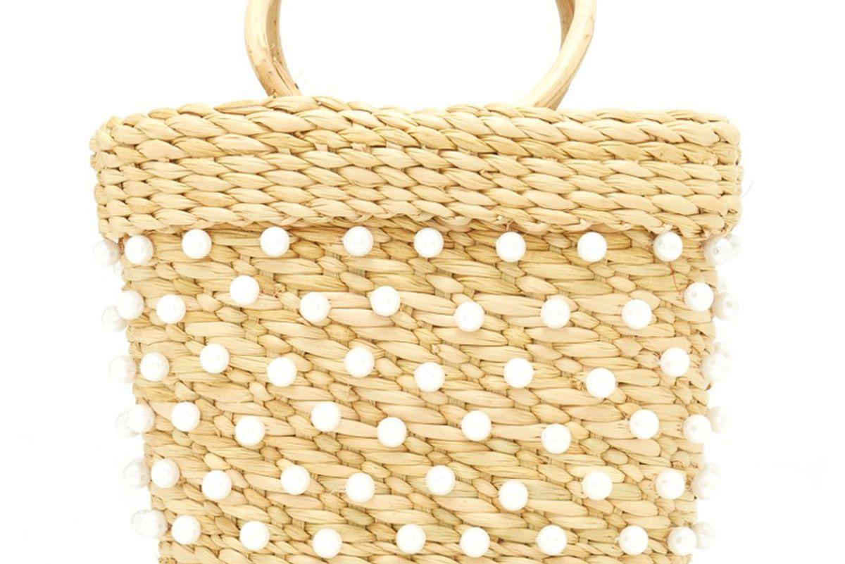 poolside mini embellished straw tote