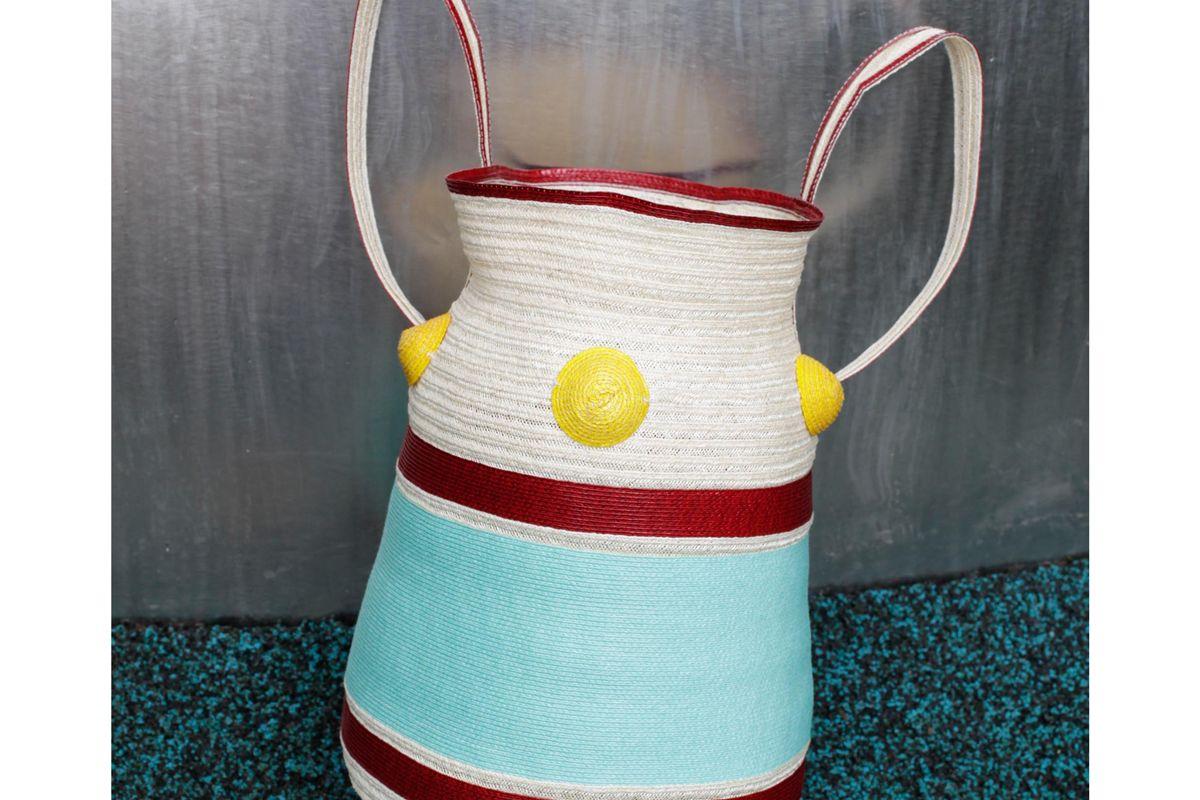 rosie assoulin banded stripe shoulder bag with dots