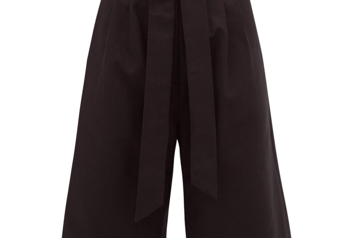 merlette sant pere high rise pleated cotton twill shorts