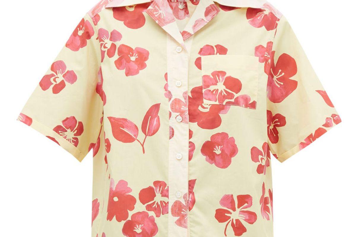wales bonner hibiscus print cuban collar cotton poplin shirt