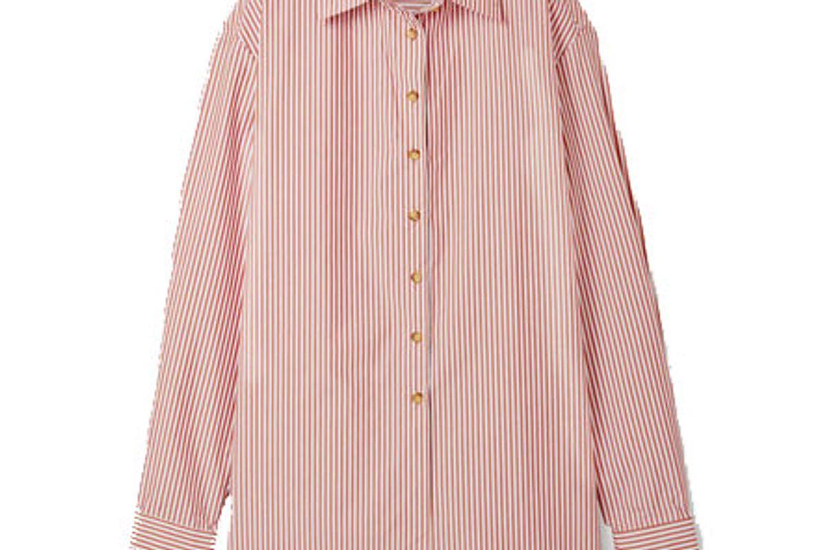 anna quan alfie oversized striped cotton blend poplin shirt