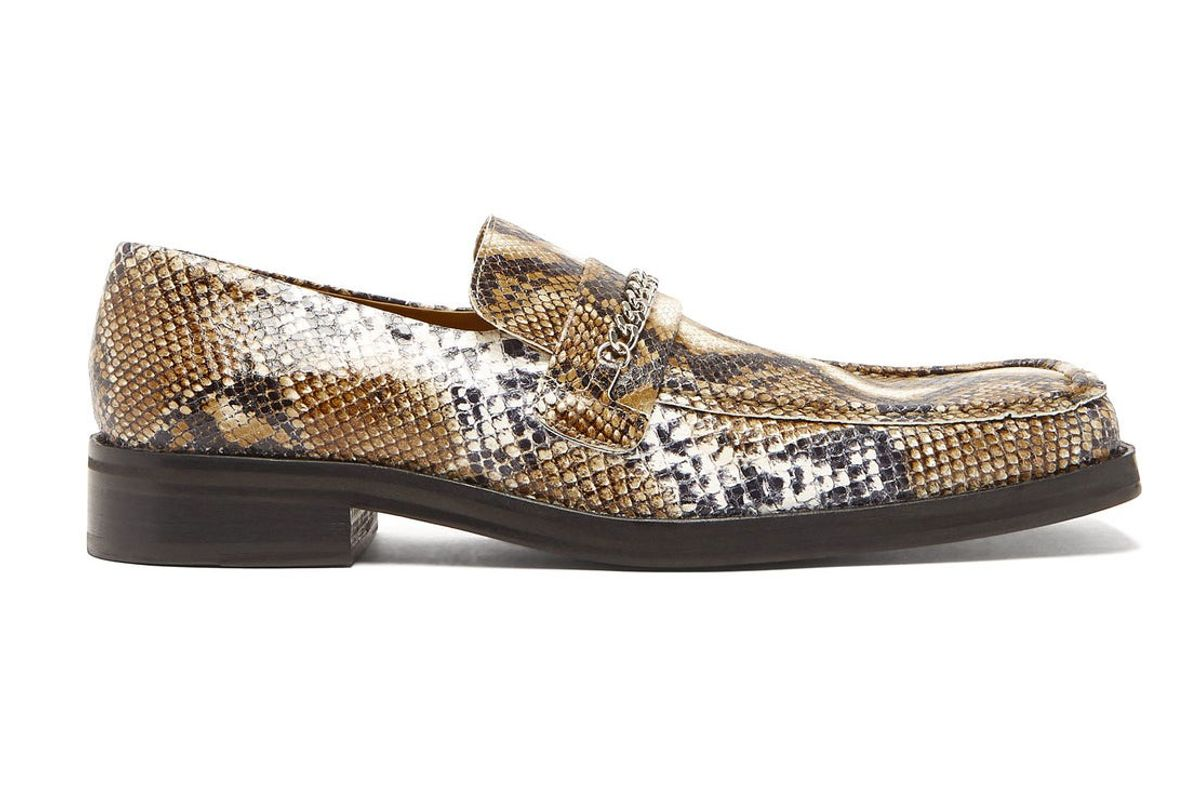 martine rose phython embossed leather penny loafers