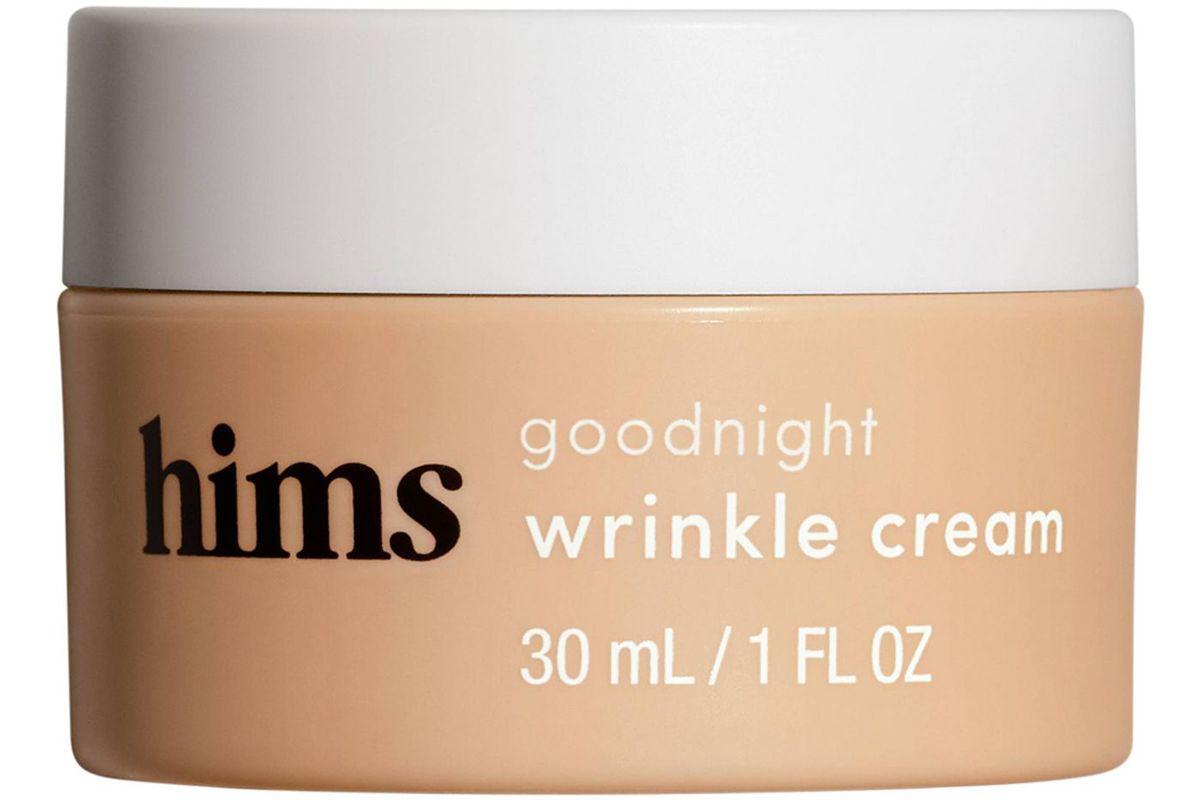 hims goodnight wrinkle cream caffeine infused moisturizer and de puffer