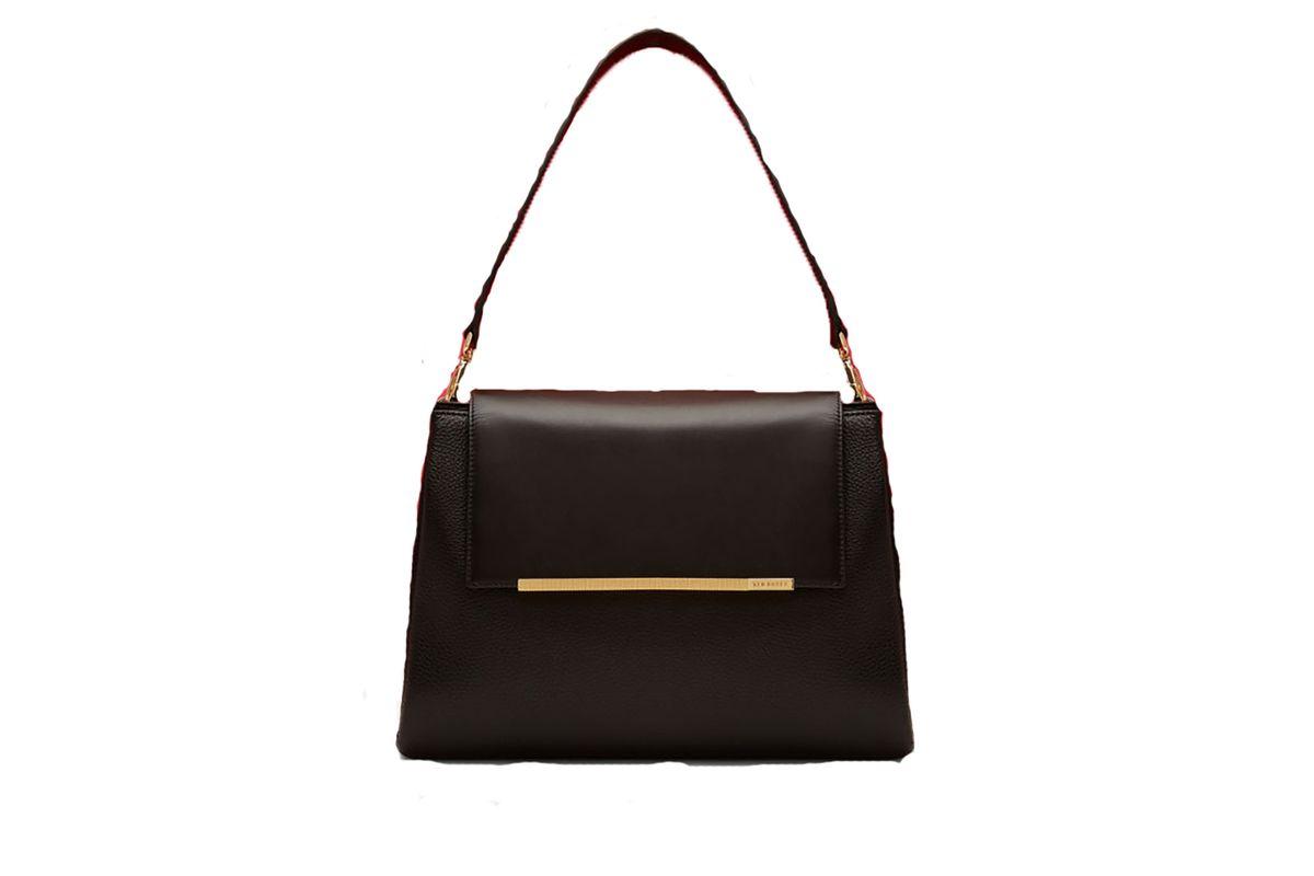 Fionah folded edge leather shoulder bag