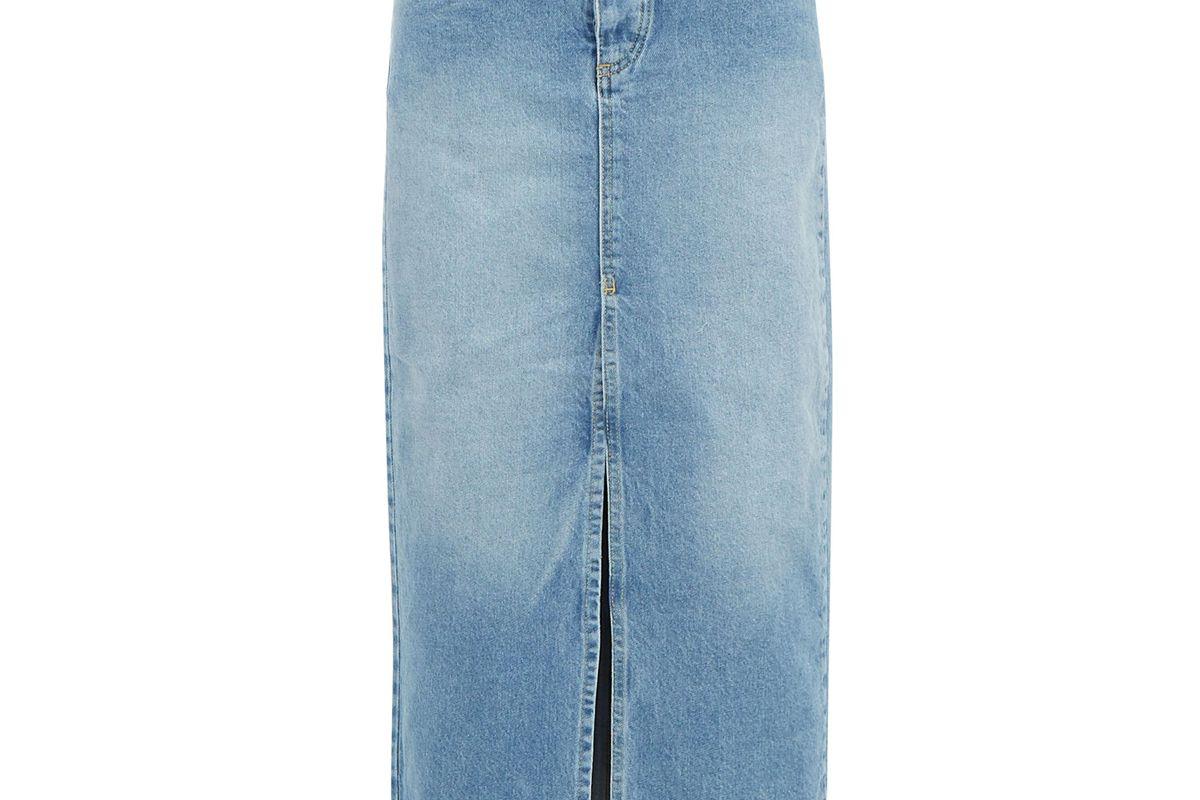 raey slit front denim maxi pencil skirt