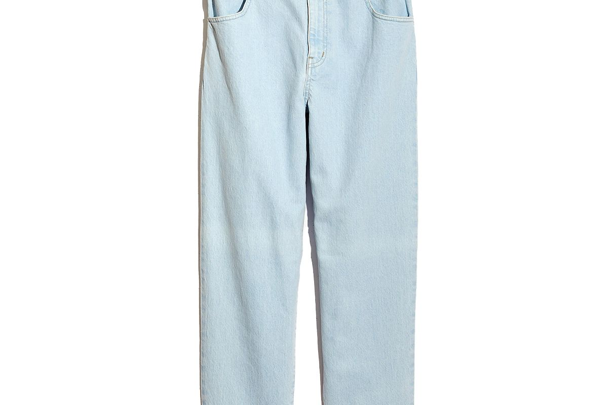 madewell paperbag classic straight jeans in broomfield wash